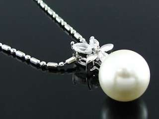 White Gold Imitation Pearl Earring Pendant Necklace Set