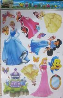 LARGE SIZE KIDS WALL STICKERS SELF ADHESIVE DIY DISNEY PRINCESS GIRL