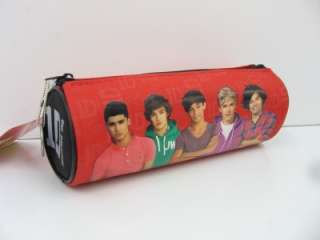ONE DIRECTION Fabric Cover Barrel PENCIL CASE Colour RED / Black