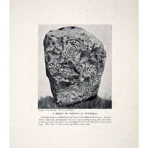 1924 Print Rock Carving Knockmany Ireland Tyrone Celtic