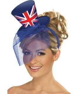 Ladies RULE BRITANNIA Sequin Fancy Dress Costume & Union Jack Top Hat