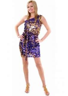 Pia Michi Purple & Gold Sequin Mini Dress UK 12 14 16