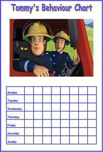 PERSONALISED FIREMAN SAM BEHAVIOUR / REWARD CHART