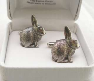 Rabbit Cufflinks in Fine English Pewter, Gift Boxed