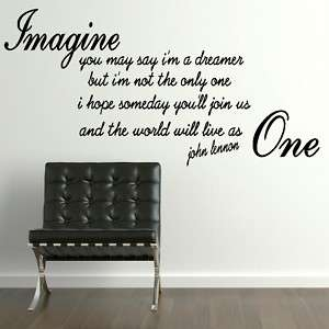 JOHN LENNON IMAGINE song lyric wall sticker quote transfer graphic