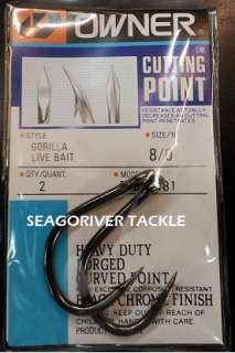 OWNER GORILLA LIVE BAIT FISHING HOOKS 5105 Size 8/0 (NEW)