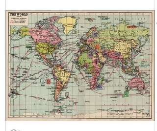 Bon Voyage Vintage inspired world map design gift wrap made from FSC