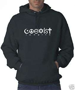 BLK COEXIST Peace Hooded Sweatshirt U2 HOODIE (XL)