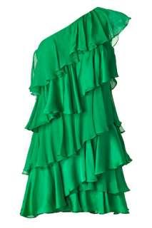 Grass Green One Shoulder Tiered Silk Dress von HALSTON