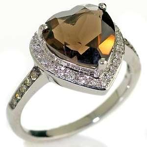 56ct Chocolate Quartz and Diamond 10K White Gold Heart Ring