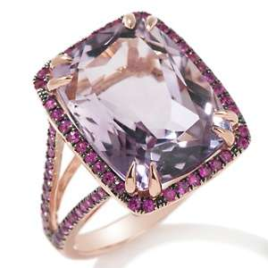 Brodie 10.06ct Pink Amethyst and Pink Sapphire 10K Rose Gold Ring