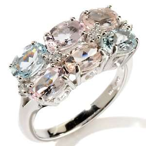 , Peach Morganite and Aquamarine 10K White Gold Ring