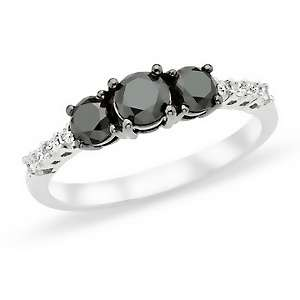 1ct Black and White Diamond 10K White Gold Ring