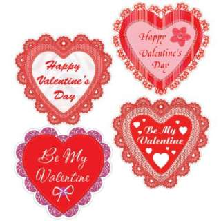 Halloween Costumes Happy Valentines Day Lace Hearts Cutouts (4 count)