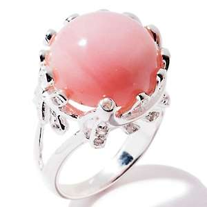 Opulent Opaques Pink Opal and White Topaz Sterling Silver Ring