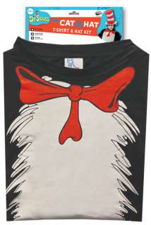 Dr Seuss Cat in the Hat T Shirt Adult Costume Kit (S/M) for Halloween