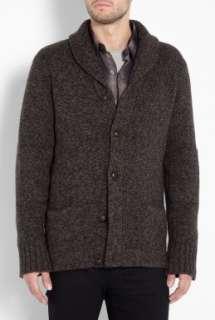 Vince  Brown Tweed Shawl Collar Cardigan by Vince