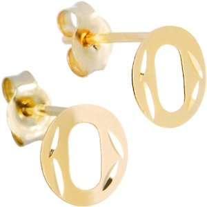 14K Yellow Gold Initial O Stud Earrings Jewelry