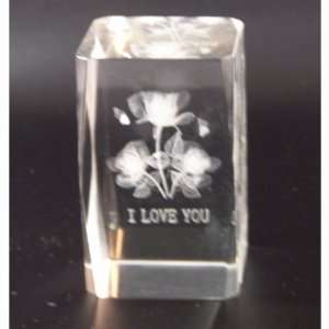3d Laser Glass Decoration with 3 Roses and I Love You