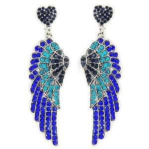 Gorgeous Sapphire Teal Crystal Angel Wing Heart Drop Earrings Jewelry