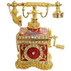 Red Vintage Telephone   Jewelry Trinket Box Swarovski