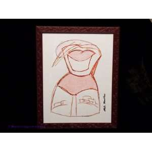 Cartoonish Character Colored Pencil Sketch Framed Art Mixed Media
