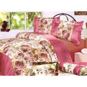7Pcs Queen Pink Rose Garden Comforter Bed in a Bag Set