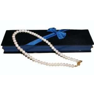 Pearl Necklace with Black Velvet Gift Box