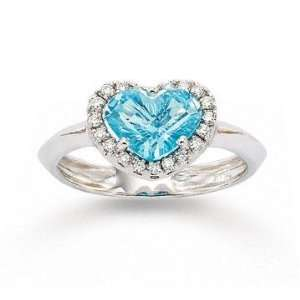 14k White Gold Heart Blue Topaz 0.10 Carat Diamond Ring Jewelry