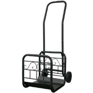 Blue Rhino Large Black Wrought Iron Log Rack with Wheels