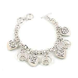 Desinger Inspired Silver Peace Pattern Charm Bracelet