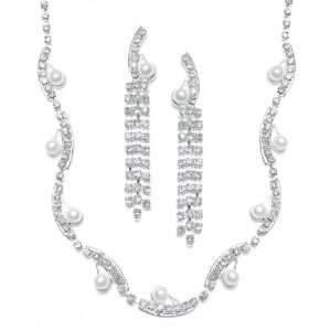 Rhinestone and Pearl Bridal Necklace Earring Set Jewelry