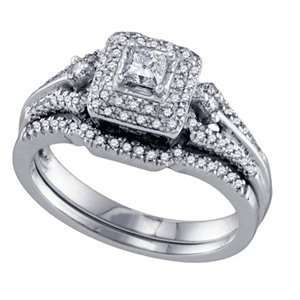 Round Diamond 14k White Gold Bridal Set Ring SeaofDiamonds Jewelry