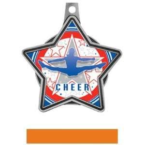 All Star Insert Custom Cheer Medals M 5501CH SILVER MEDAL