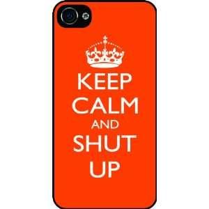Shut Up   Orange Color Rubber Black iphone Case (with bumper) Cover