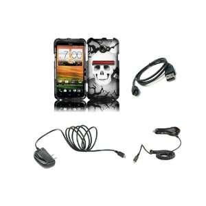 4G LTE (Sprint) Premium Combo Pack   Black Grey Skull Hard Case Cover