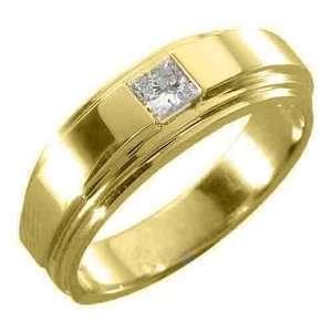 Gold Mens Solitaire Princess Cut (Square) Diamond Ring .30 Carats