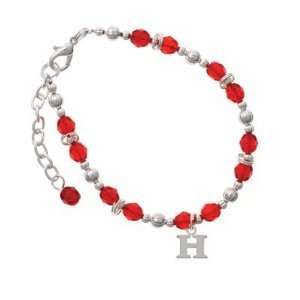 Small Silver Initial   H Red Czech Glass Beaded Charm Bracelet