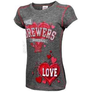 Milwaukee Brewers Youth Girls Cheer Tri Blend Heathered T Shirt   Ash