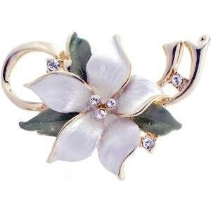 White Christmas Star Poinsettia Flower Swarovski Crystal Pin Brooch