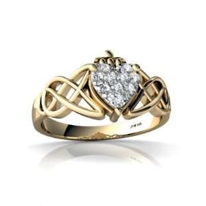 Yellow Gold White Diamond Celtic Claddagh Knot Ring Size 4.5 Jewelry