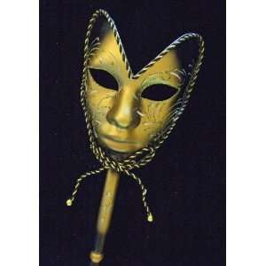 Venetian Mask Full Face Mardi Gras Black & Gold Halloween
