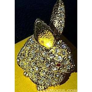 Gold Plated Crystal Layered Rabbit Trinket Box Home & Kitchen