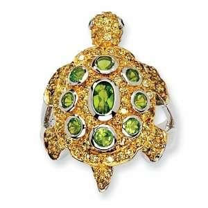 Sterling Silver Cubic Zirconia Turtle Ring (Size 6