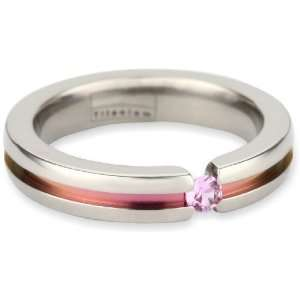 Womens Grey Titanium Round Cut Pink Sapphire Ring with Pink Anodized