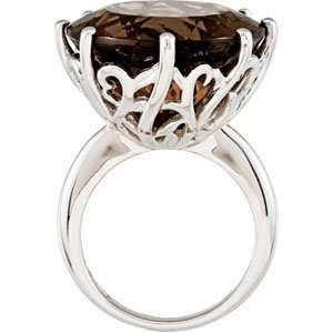 Sterling Silver 20.00X20.00 MM Genuine Smoky Quartz Ring Jewelry