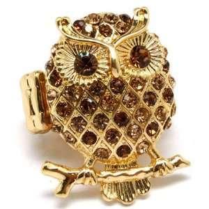 Owl Stretch Ring Amber Crystals Gold Tone Fun Cute