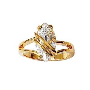 Ladies 18K Gold Plated Luxurious Cubic Zirconia Solitaire