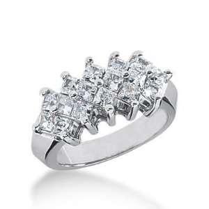 14K Gold Diamond Anniversary Wedding Ring 16 Princess Cut Diamonds 1