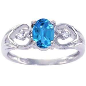 Oval Gemstone and Diamond Anniversary Ring Swiss Blue Topaz, size6.5